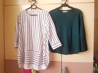 Stripes and green balloon sleeves top