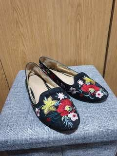 Topshop embroidered flats