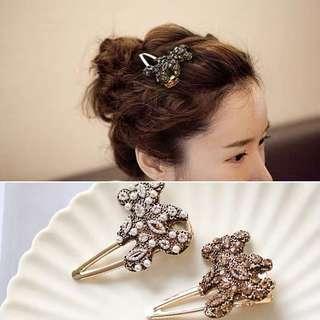 韓國ins優雅氣質小熊髮夾女網紅復古劉海一字夾成人甜美邊夾女飾