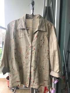 Thrifted oversized embroidered Khaki shirt