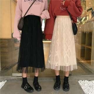 Women Braid Midi Skirts