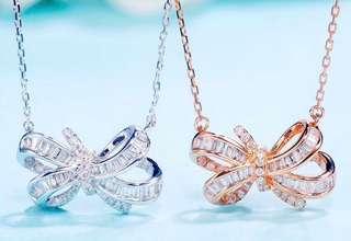 18K gold diamond Necklace 18K金鑽石蝴蝶結項鏈