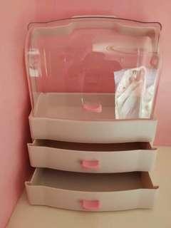 🚚 手提翻蓋雙開門化妝品收納盒