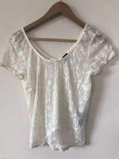 Sparkle & Fade Off White Lace Top
