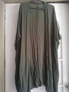 F21 Plain Green Longline Kimono