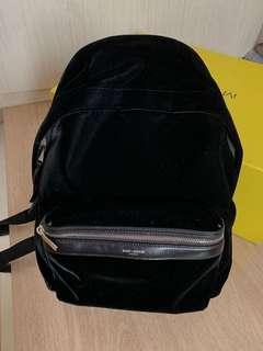 YSL City Backpack In Black Velvet