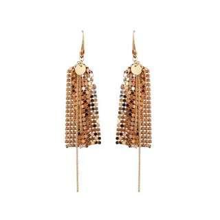 復古耳環 earrings 流蘇 金色 質感