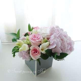Customized fresh flower box from Korean florist / hydrangea / roses / bouquet
