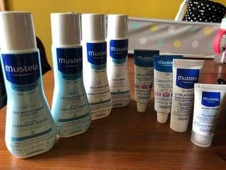 Mustela cleansing water, cleansing oil, body lotion, nappy cream and more