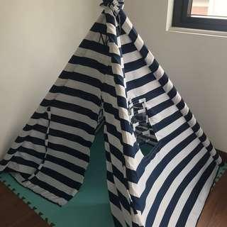 Blue and white striped teepee tent