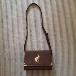 [BN] Brown Sling Bag with gold rabbit patterned