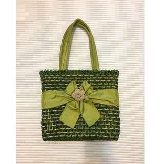 [BN] Green Rattan Hand Bag with Flower and ribbon
