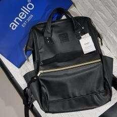Anello Black Leather Backpack (regular size)