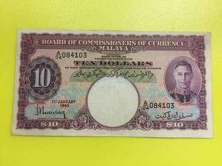 Malaya 1940 Purple George VI $10 Original Condition note (For Sharing)