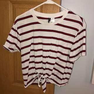 NEW H&M Red Stripes Tie Women's Crop Top