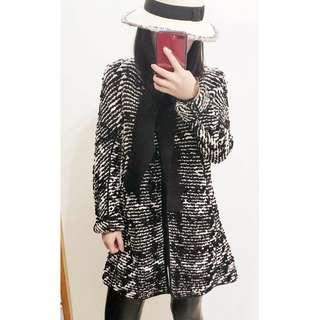 未使用 GA / GIORGIO ARMANI 黑白洋裝式大衣