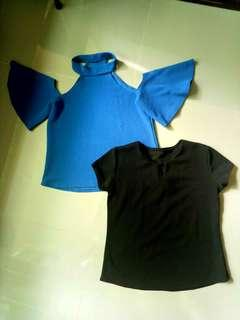 Free shipping! Blue Off Shoulder and Black Blouse
