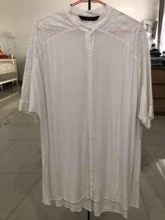 Zara broken white blouse