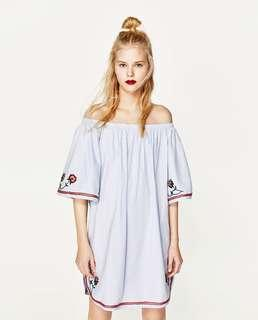Zara embroidered off shoulder dress