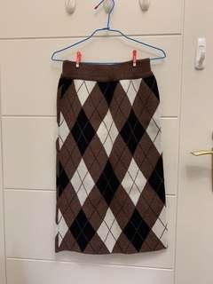 菱格紋厚針織裙