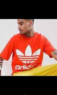 Adidas BOXY OVERSIZE厚磅LOGO上衣(橘)