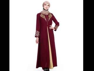 Readymade Red, Black And Green Full Abaya Suit( Preorder)second item half price