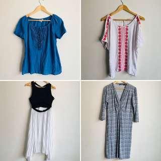 BUNLDE 2x tops, 2x dresses sizes 12, L