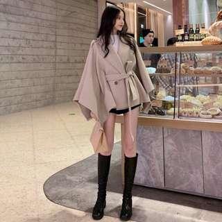 🚚 寬鬆顯瘦中長款斗篷毛呢外套