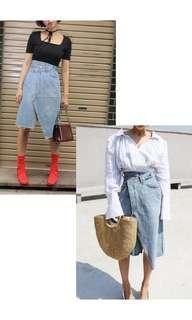 Denim asimetris asymetris jeans skirt