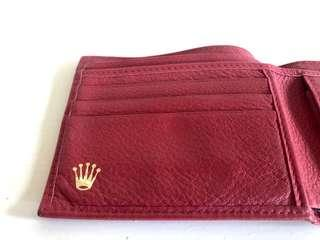 Authentic Rolex wallet in red skin
