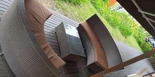 🚚 Brown Rattan Sofa Chair Set
