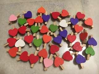 Wooden Heart Pegs / Clips
