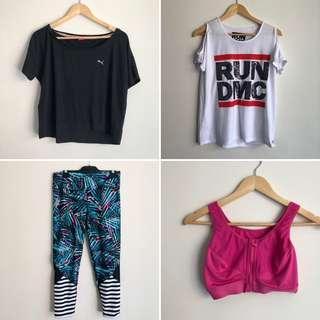 BUNDLE sports clothes leggins, sport bra, 2x tops size 10, 12, L