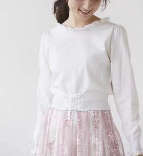 ✨NEW!人氣~日本19 淑女木耳邊束腰長袖上衣