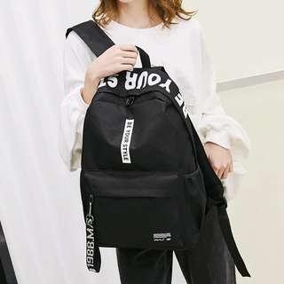 Unisex Black Canvas Backpack