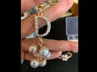 Crystal Rhinestones Elegant Tassel/ Stud Rose Gold Pearl Earrings( Preorder) Second item half price