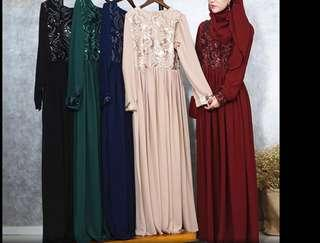 Latest Embroidery Turkey Work Sequin Celebration Abaya Dress( Preorder)Small to 2XL
