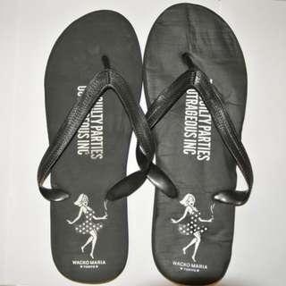 包順豐櫃 1套2件Wacko Maria 黑色 潮人沙灘 人字拖 Size: 38-40+全新無包裝黑色 拉繩袋 鞋袋 雜物袋