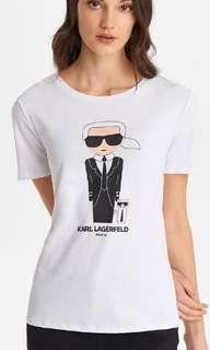 Auth Karl Lagerfeld Ladies' M-L Ikonik Print Top Cotton Crew Neck Shirt
