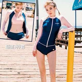 🚚 《全新》韓國防曬長袖顯瘦三件套泳裝