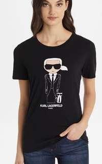 Auth Karl Lagerfeld Ladies' L-XL Ikonik Print Top Crew Neck Shirt