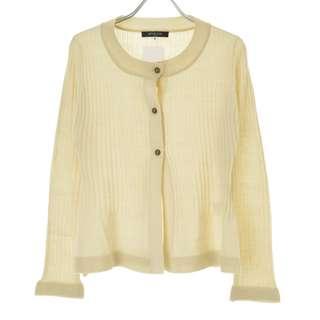 🚚 【MICHEL KLEIN】淺米色層壓混紡針織長袖開襟衫外套