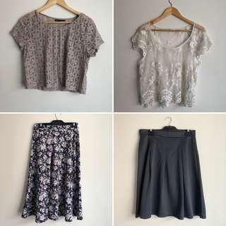 BUNDLE 2x skirts, 2x tops size 12-14, L