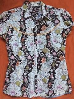Floral Polo Shirt Blouse (Medium)