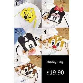 [NEW] [PO] PROMOTION FOR MONTH !! Pretty Cool Small Disney SLING bags with up to 5 design to choose !!