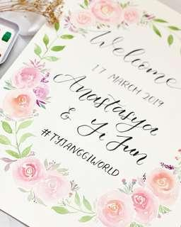 🚚 Floral wedding calligraphy poster