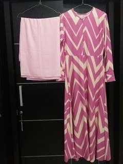 Set syari zigzag pink