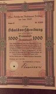 二戰德國吞併奧地利政府債券