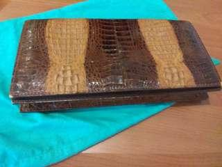 🚚 Hardly used 100% reptile leather clutch bag for sale