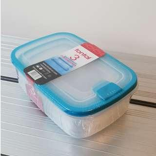 Set of 3 Plastic Storage Box for Microwave with Lid Open
